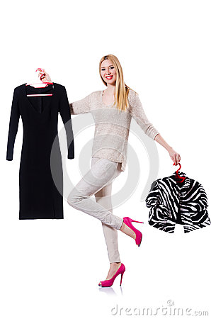 Woman trying to choose dress