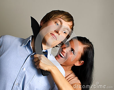Woman is trying to kill man