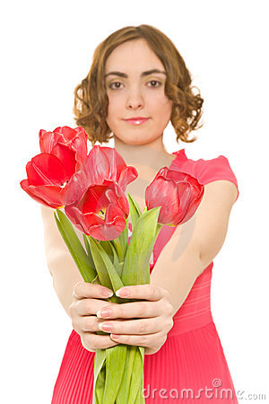 Woman with tulips (focus on tulips)