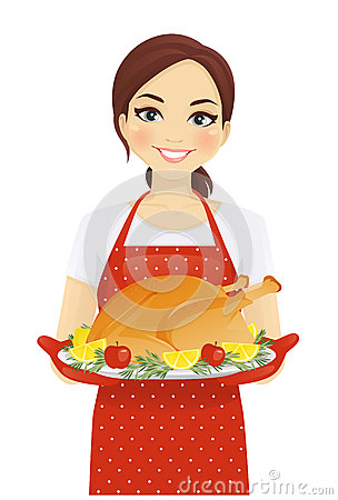 Woman with turkey Vector Illustration