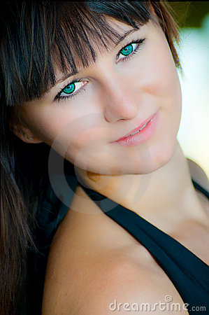 Woman with turquoise eyes