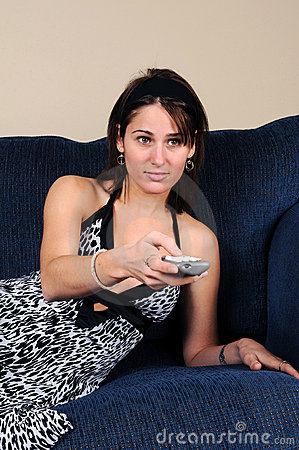 Woman With TV Remote Control