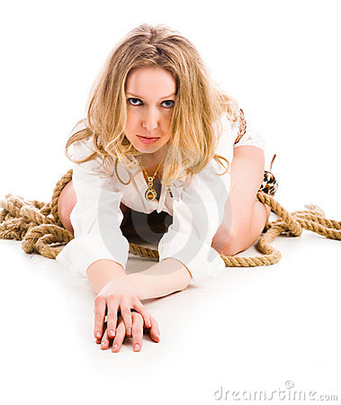 Woman twisted with cord