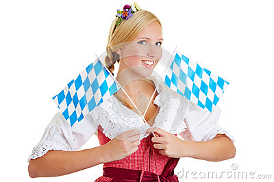 Woman with two bavarian flags