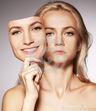 Woman with two faces. Mask