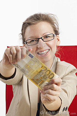 Woman with two hundred Euro banknote
