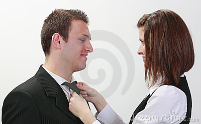 Woman Tying Man s Tie