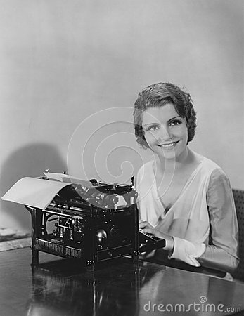 Free Woman Typing A Document Royalty Free Stock Images - 52033319