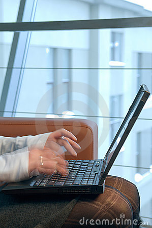 Woman typing on the computer.