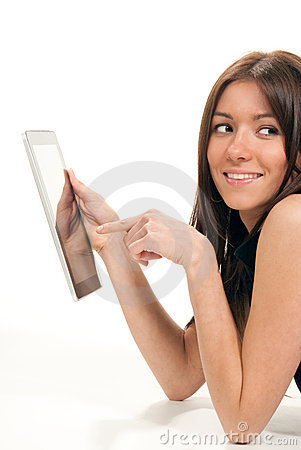Woman typing on her electronic tablet touch pad