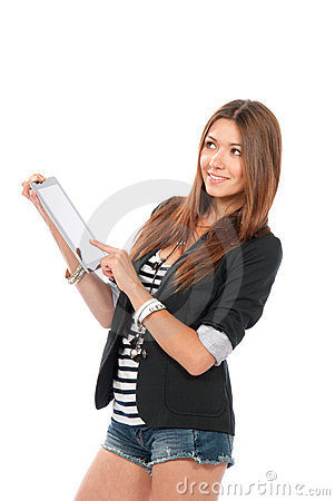 Woman typing on new electronic tablet touch pad