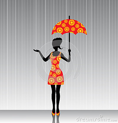 Woman with an umbrella in a bright dress