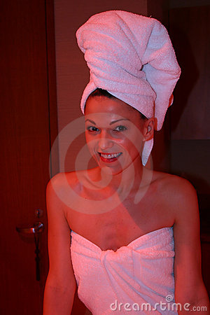 Woman under Heat lamp