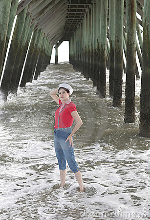 Woman under the pier