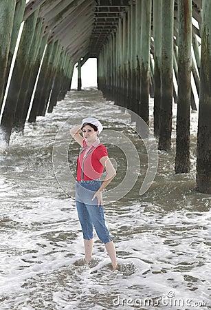 Woman under the pier