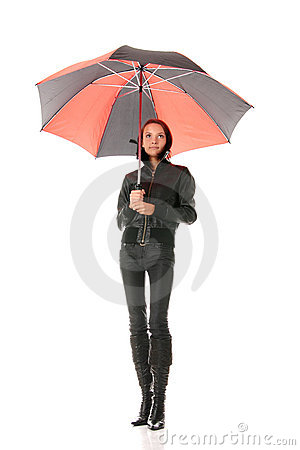 Woman under red and black umbrella