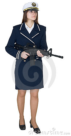 Woman in uniform sea captain with rifle