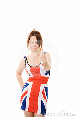 Woman in union jack dress giving a number 1 sign