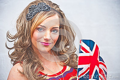 Woman with Union Jack flag.