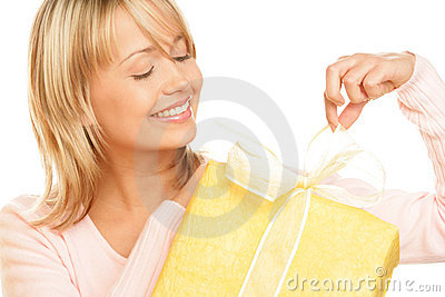 Woman unpacking gift
