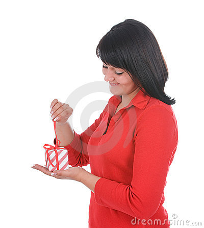 Woman unpacking present