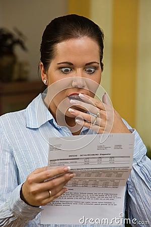 Woman with unpaid bills