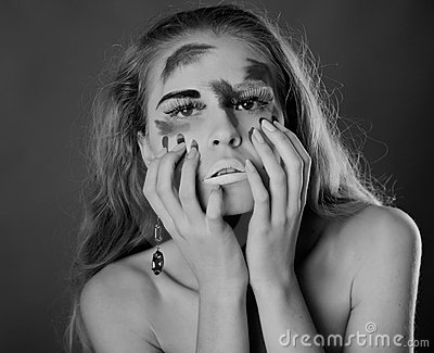 A woman with unusual make-up