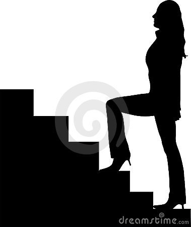 Woman up stairs