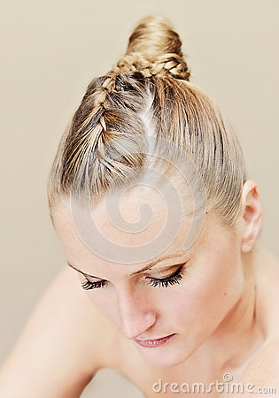 Woman with updo hairstyle