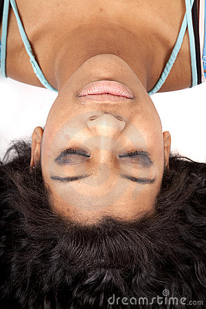 Woman upside down hair out sleep