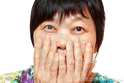 Woman use hand cover her mouth