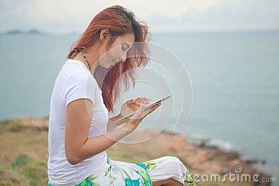 Woman use tablet