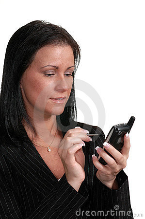 Woman uses wireless pda