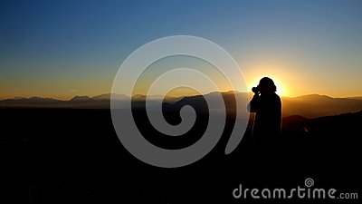 Woman Using Binoculars In Mountain During Sunset Free Public Domain Cc0 Image