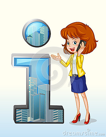 A woman using a cellphone standing beside the number one symbol