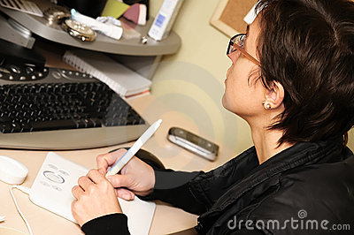 Woman using a graphic tablet