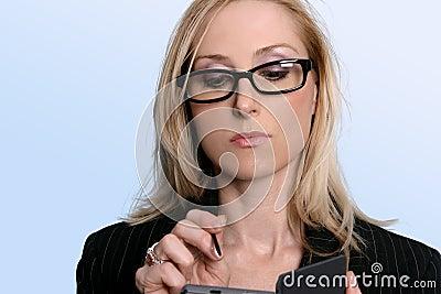 Woman using her organiser