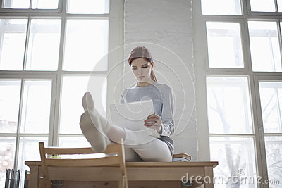 Woman Using Laptop On Desk In Loft Apartment