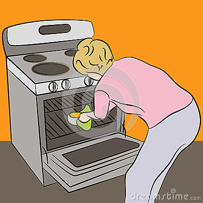 Woman Using Oven