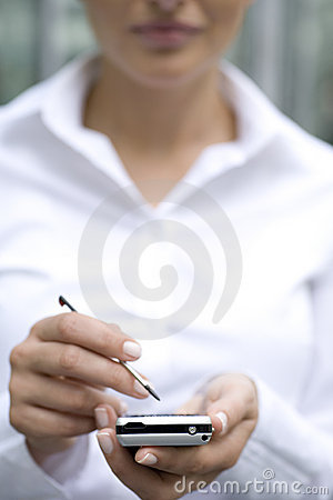 Woman using palmtop