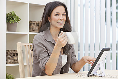 Woman Using Tablet Computer Drinking Tea Coffee
