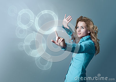 Woman Using Virtual Interface