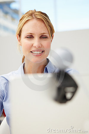 Woman using webcam