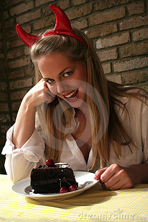 Free Woman V Chocolate Cake Devils Temptation Royalty Free Stock Image - 857956
