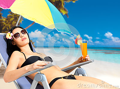 Woman on vacation enjoying at beach