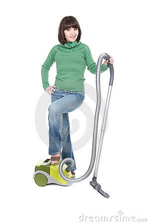 Woman with vacuum