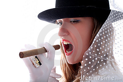 Woman with a vail and cigar