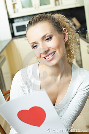 Woman with valentine card