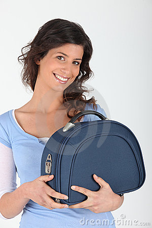 Woman with vanity case