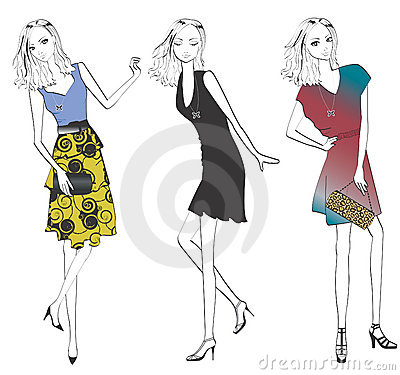 Woman in various fashion